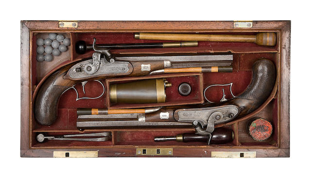 A Rare Cased Pair Of 32-Bore Silver-Mounted Percussion Duelling Pistols