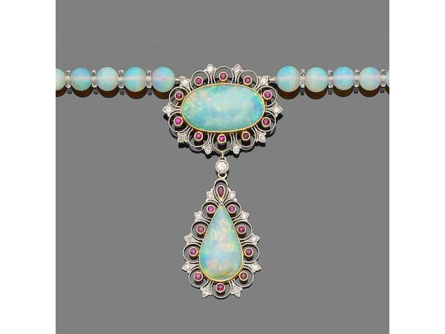 An opal, ruby, rock crystal and diamond necklace