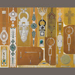 CARTIER: A  framed collage of eighteen jewellery designs,