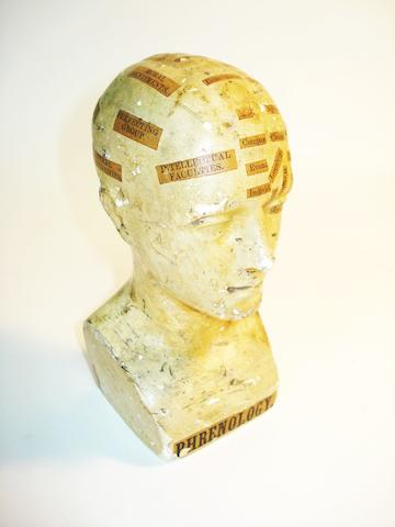 A plaster phrenology head, English, late 19th century,