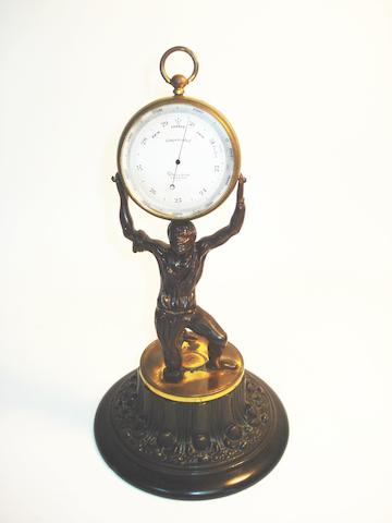 A Dollond desk aneroid barometer,  English, late 19th century,