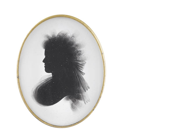 Samuel Houghton (British, died 1796) A silhouette of Frances Yate, profile to the left, wearing fichu, her hair worn à la Conseilleur tied with a large ribbon bow