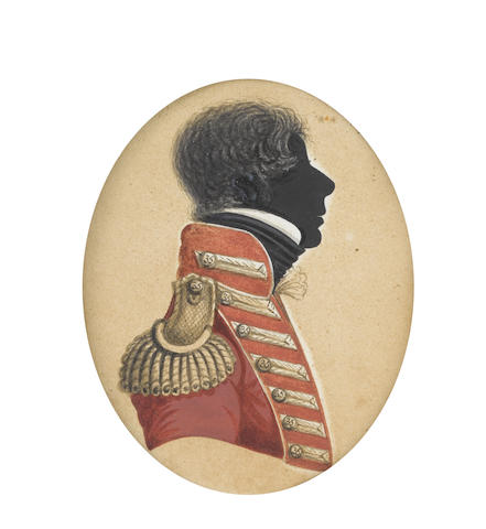 John Buncombe (British, fl.1820-1830) A silhouette of an Officer of the 35th (Sussex) Regiment of Foot, profile to the right, wearing red coat with orange facings, pewter buttons, shoulder wing, and button-hole lace, the buttons stamped '35'
