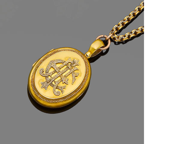 A mid 19th century fancy-link pendant necklace