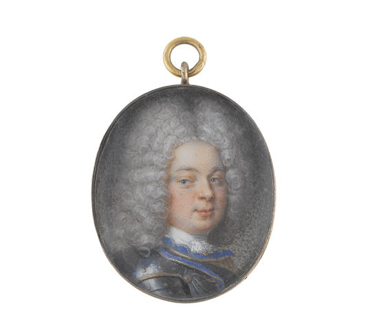Circle of Christian Richter (Swedish, 1678-1732) A Gentleman, wearing armour, gold trimmed blue lining to his collar and gardbrace, white stock and lace cravat, long curled powdered wig