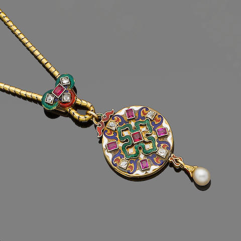 A gold, enamel, ruby and diamond Holbeinesque pendant/locket,