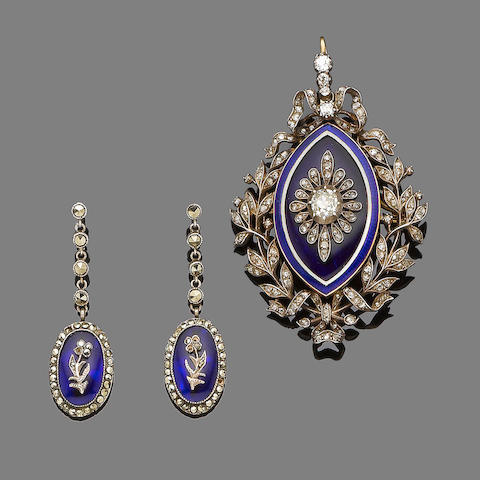 An enamel and diamond brooch/pendant, circa 1910 and a pair of glass and marcasite pendent earrings (2)