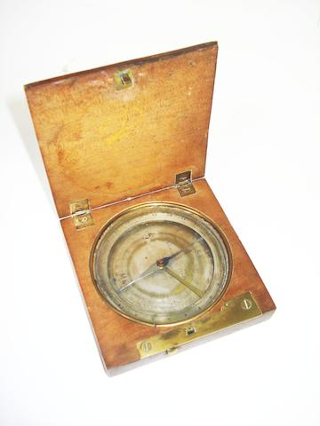 A fruitwood cased compass,  Austrian, second quarter of the 19th century,