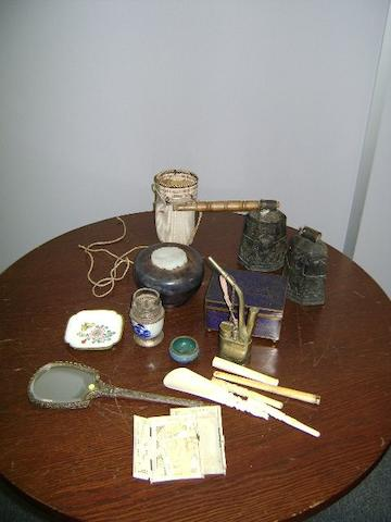 A group of assorted Asian artefacts including  a cloisonne box and cover, a wood bowl with carved Jade panel to lid, enamel mirror, two bells, small carved ivory box ( In pieces) and other items.