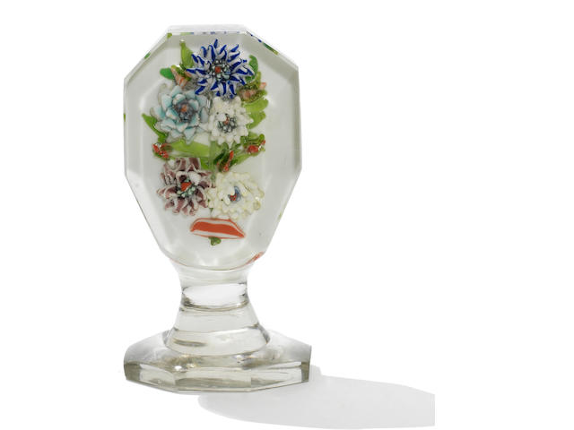 A Russian upright floral paperweight plaque, circa 1870-80