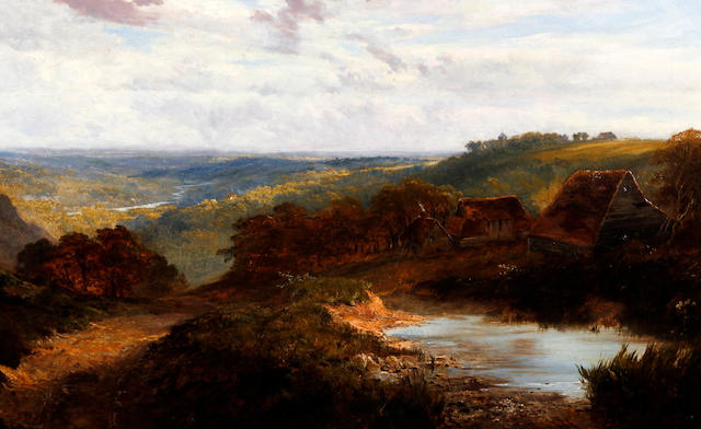 Attributed to George Vicat Cole, RA (British, 1833-1893) Extensive south country landscape