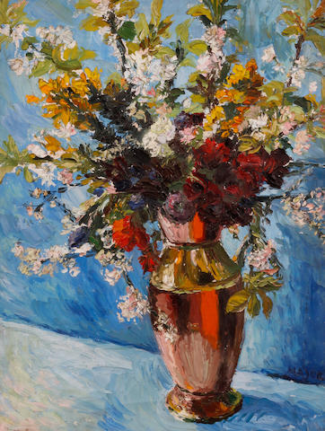 Theodore Major (British, 1908-1999) Flowerpiece with magnolia blossoms in an urn