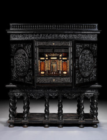 A French 17th century ebony, ebonised, giltwood, marquetry and ivory inlaid cabinet Paris, circa 1645