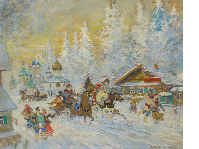 Konstantin Alexeevich Korovin (Russian, 1861-1939) The joys of winter