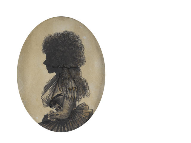 Mrs. Isabella Beetham (British, circa 1753-1825) A silhouette of a young Lady, half-length, profile to the left, wearing riding jacket over dress with fichu, her hair worn in a banging chignon