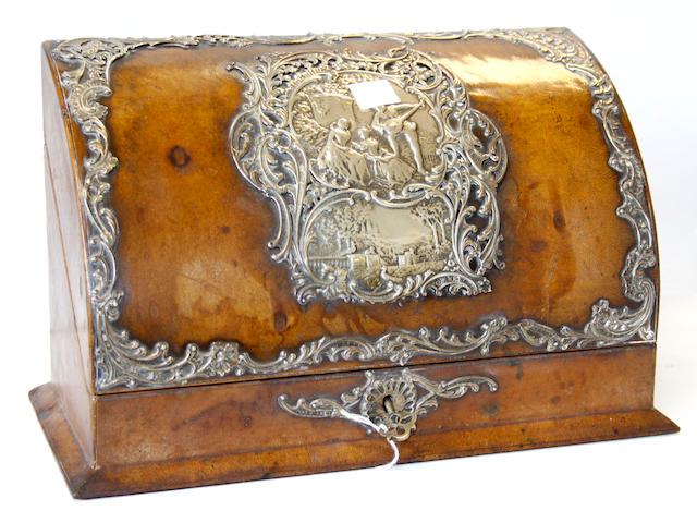 A silver mounted leather stationery box,