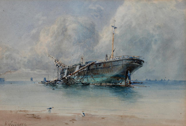 William Woodhouse (British, 1857-1939) Dismasted and beached vessel on the coast, probably Morecambe Bay