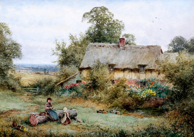 Henry John Sylvester Stannard, RBA (British, 1870-1951) Girls winding wool seated by a log outside a cottage