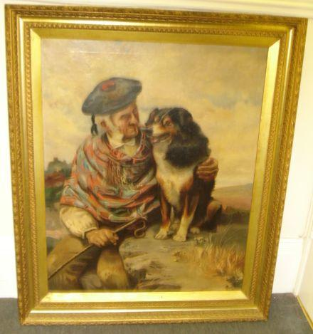 British School, Late 19th Century A Scotsman with his dog by the coast