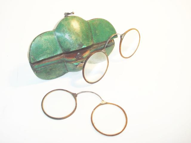 Two pairs of spring frame spectacles, mid 18th century,