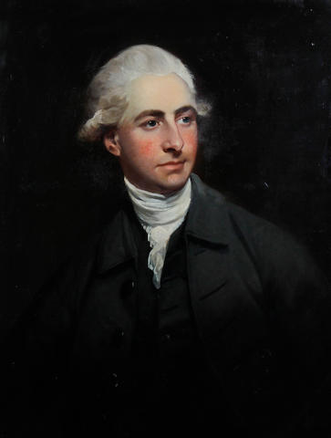 Circle of Gainsborough Dupont (British, 1754-1797) Portrait of a gentleman wearing a dark jacket and white stock with white powdered wig