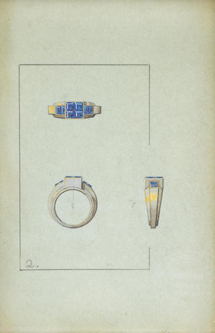 "CARTIER: Six pencil and goauche jewellery designs, each stamped ""Cartier Paris"",  (6)"