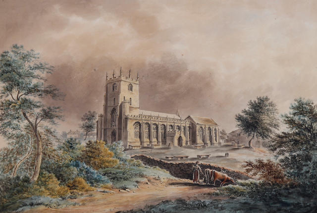Circle of Joseph Farington, R.A. (British, 1747-1821) 'Bunbury Church, Cheshire'