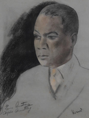 Jacob Kramer (British, 1892-1962) Portrait of Louis 'Satchmo' Armstrong, head and shoulders
