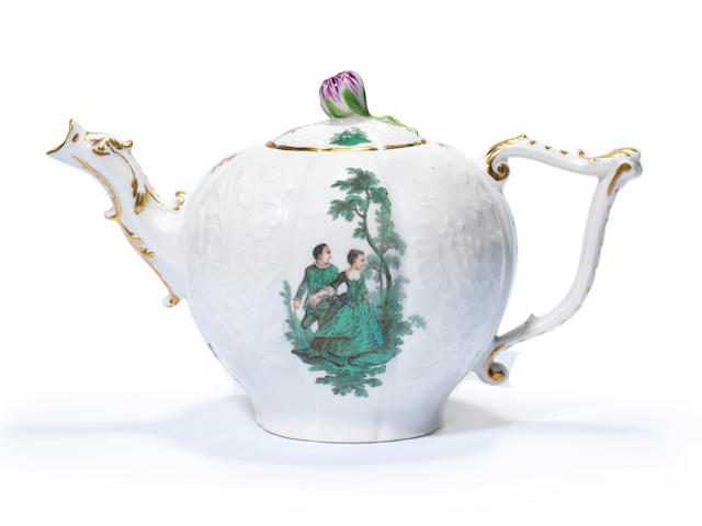 A Meissen teapot and cover with green watteau scenes, circa 1745-50