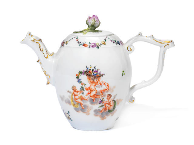 A Meissen teapot and cover circa 1760-65