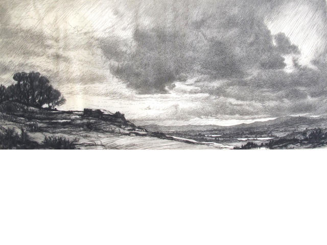 Henry Macbeth-Raeburn (British, 1860-1947) Landscape etching, signed in pencil