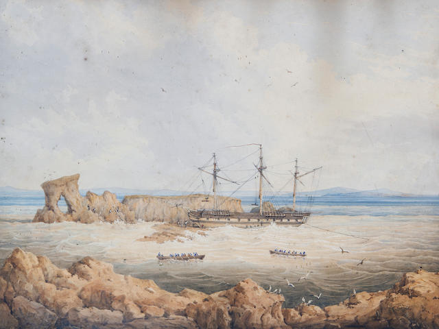 H. Worsley, 19th Century HMS Success on the rocks off Pulo Carnac, Swan River, Fremantle