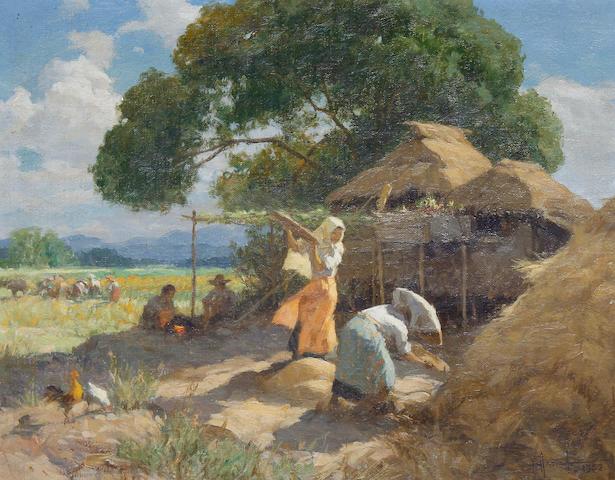 Fernando Cueto Amorsolo (Filipino, 1892-1972) Women harvesting