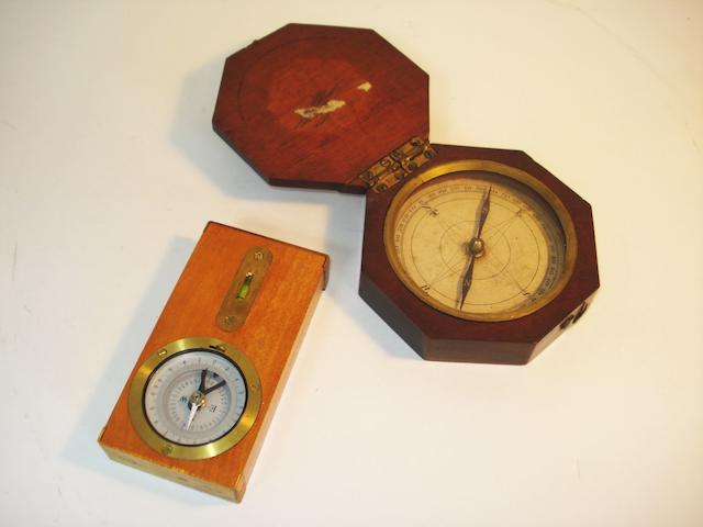 A mahogany cased pocket compass, English, late 18th century, (2)