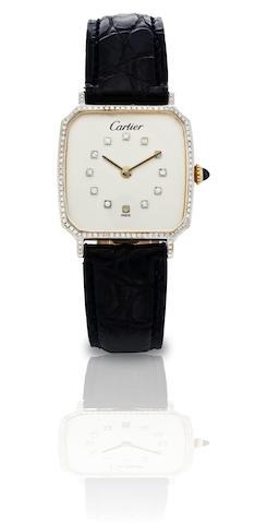 Cartier. A fine 18ct gold diamond manual wind wristwatch Case No.8107010, Circa 1978