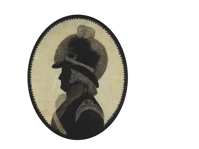 William John Joliffe (British, born circa 1738-1798) A silhouette of an Officer, profile to the left, wearing coat with epaulette and cross belt, his hat covered with fur and dressed with a plume and cockade, decorative black border