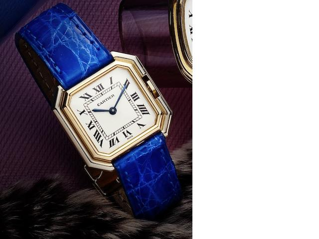 Cartier. A fine two colour 18ct gold lady's manual wind wristwatchCeinture, Case No.782100065, Circa 1985