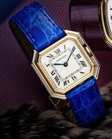 Cartier. A fine two colour 18ct gold lady's manual wind wristwatchCeinture, Case No.782100065, Circa 1985
