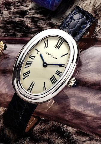 Cartier. A fine 18ct white gold lady's manual wind wristwatchBaignoire, Case No.780940004, Circa 1985