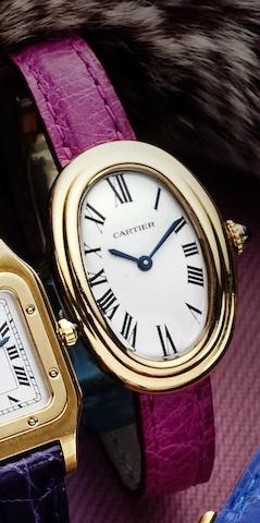 Cartier. A fine 18ct gold lady's manual wind wristwatchBaignoire, Case No.780946428, Circa 1990
