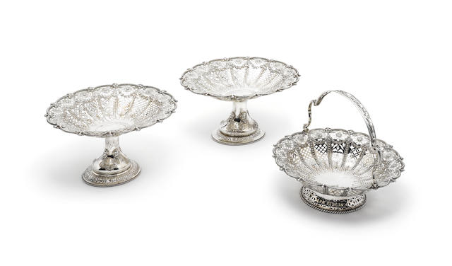 A suite of three Victorian pierced silver baskets, by Martin Hall & Co. Ltd, London 1886-87,  (3)
