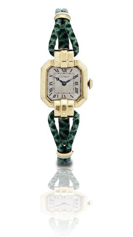 Cartier/European Watch and Clock Co. Inc. A fine and rare 18ct gold lady's manual wind bracelet watchCase No.24740, Movement No.433258, Circa 1930