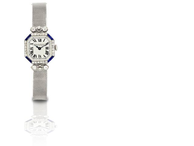 Patek Philippe & Co. A rare and fine PT950 platinum, diamond and sapphire set manual wind lady's bracelet watchMovement No.815232, Made in 1927