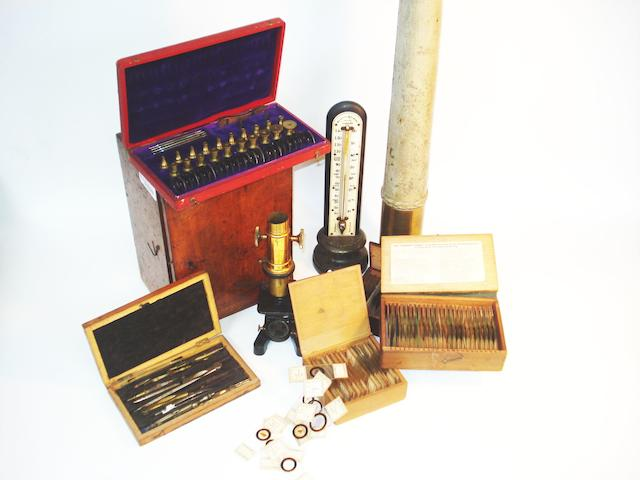 A Negretti & Zambra thermometer together with a collection of accessories,   late 19th century,  (a lot)