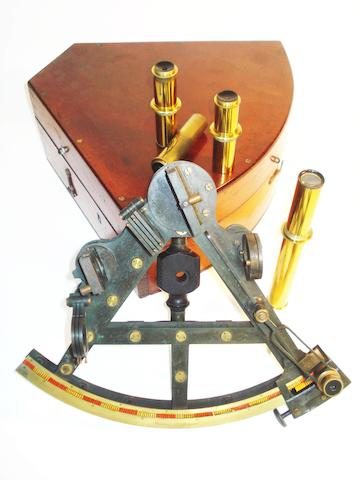 A Henry Macrae brass double-framed sextant, English, circa 1865,