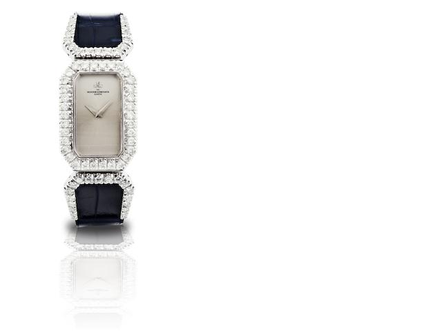 Vacheron Constantin. An 18ct white gold and diamond set lady's quartz wristwatch Ref:18797, Case No.528065 P, Sold in May 1984