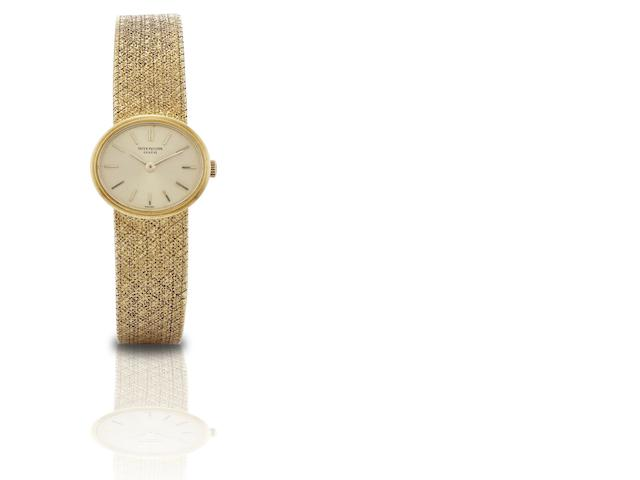Patek Philippe. A rare and fine 18ct gold lady's manual wind bracelet watch Ref:3349/1, Case No.2670334, Movement No.994112, Circa 1970
