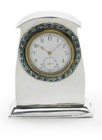 An Edwardian silver and enamel timepiece, by Liberty & Co, Birmingham 1910,