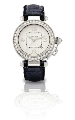 Cartier. A fine 18ct white gold and diamond set lady's automatic wristwatchPasha, Case No.334332MG, Circa 2000s