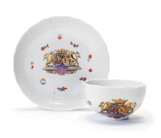 A rare Meissen armorial teacup from the Sulkowski Service, circa 1736